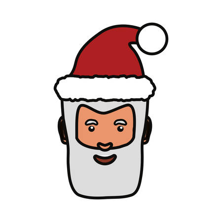 Colorful santa claus face over white background  vector illustration