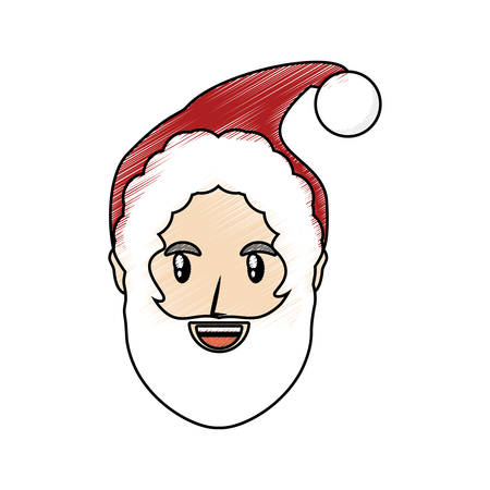 colored santa claus  face doodle over white background  vector illustration Illustration