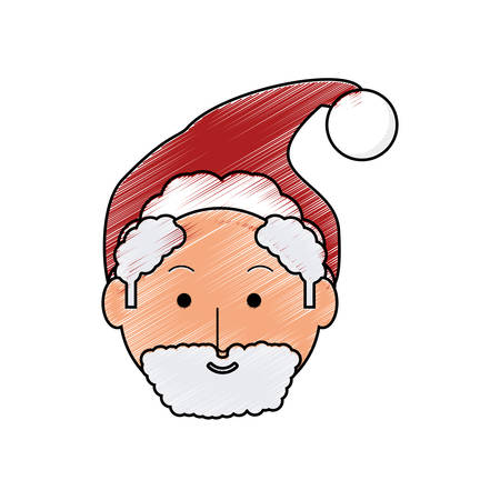 colored santa claus face doodle over white background vector illustration stock vector 88547374