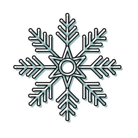 Flat line  colored snowflake over white background vector illustration