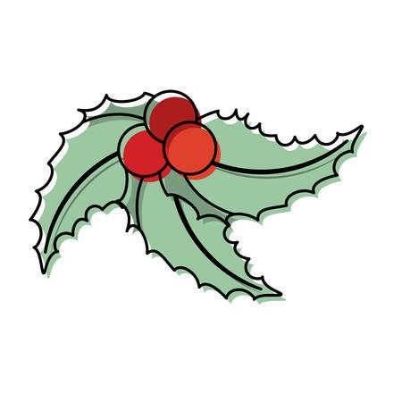 Flat line colored christmas pick over white background  vector illustration Illustration