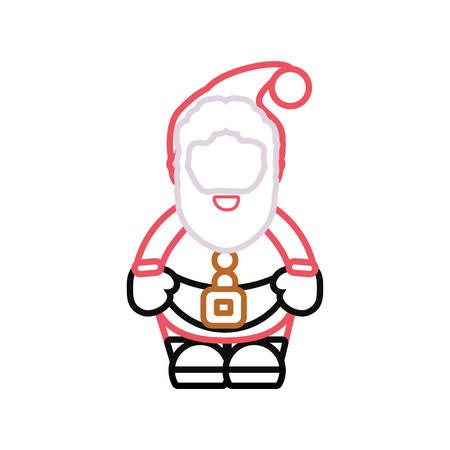 Flat line colored santa claus over white background  vector illustration Illustration