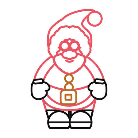 flat line colored santa claus over white background vector illustration stock vector 88579534