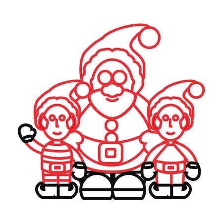 Flat line colored Santa Claus