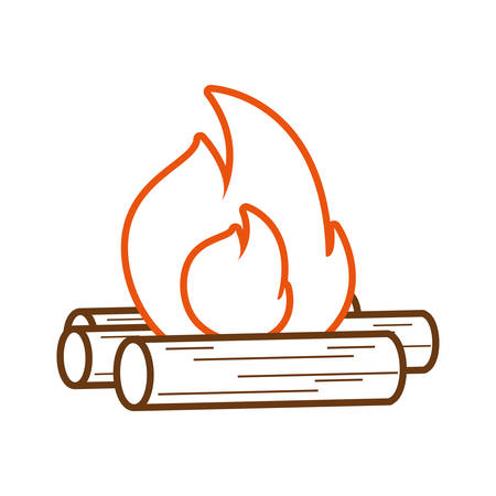 flat line colored wood fire over white background vector illustration