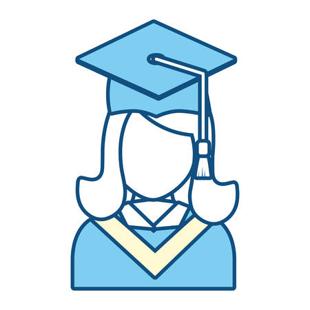 Graduated woman icon over white background vector illustration Illustration