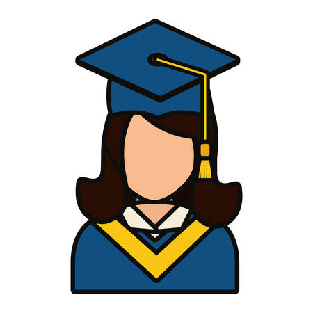 Graduated woman icon over white background vector illustration 矢量图像