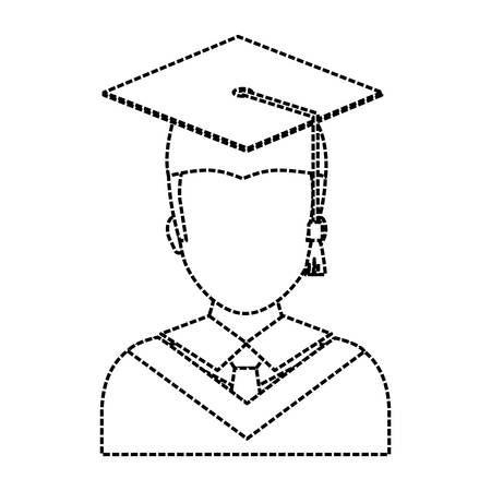 Graduated man icon over white background vector illustration