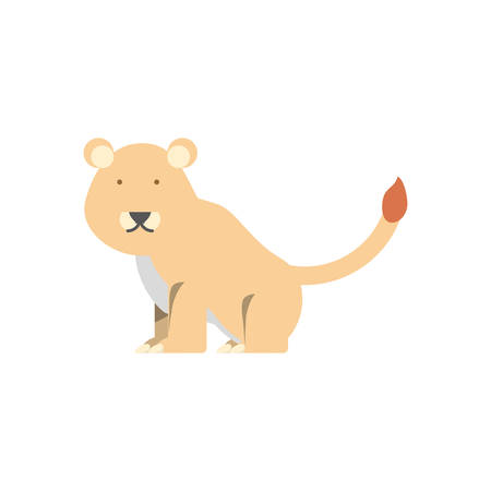 Cartoon lioness icon over white background vector illustration Illustration