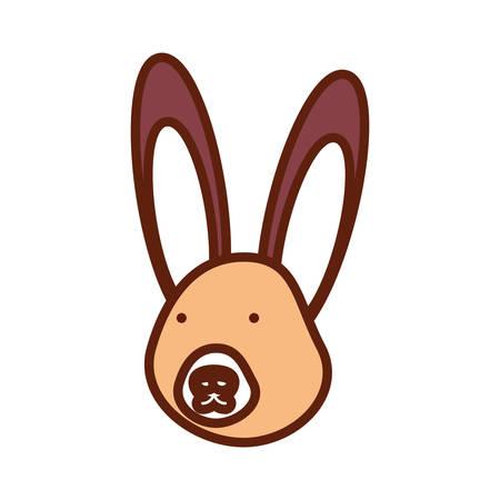 Cartoon rabbit icon on white background, vector illustration. Illustration