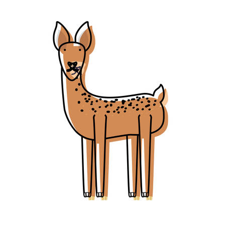 simple life: Cartoon deer icon over white background vector illustration