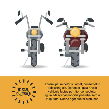 Biker culture infographic presentation with motorcycles icon over white background vector illustration