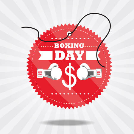 business graphics: Boxing day design with boxing gloves icon colorful design vector illustration. Illustration