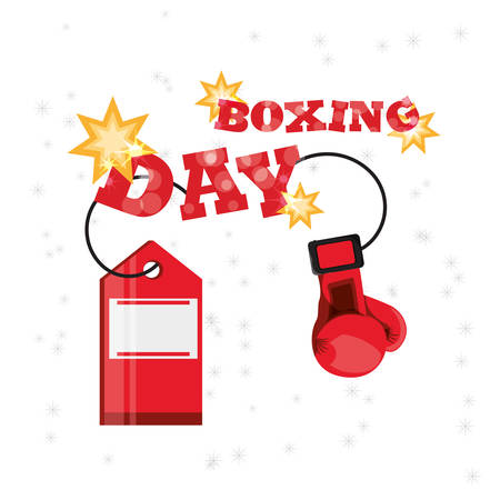 Boxing day design with boxing glove and shopping  tag icon on white background, vector illustration. Illustration