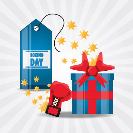Boxing day design with gift box and boxing glove icon on white background, vector illustration.