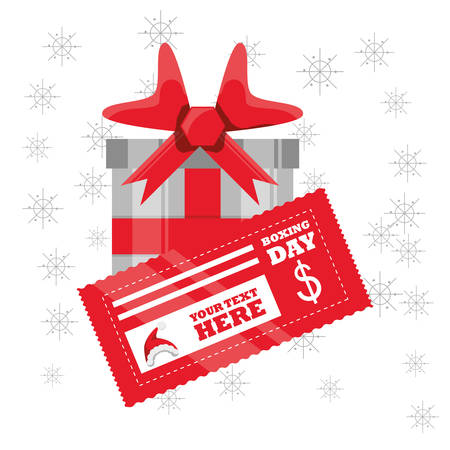 Boxing day design with gift box and coupon icon on white background, vector illustration.