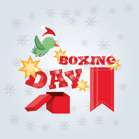 Boxing day design with cartoon bird icon colorful design vector illustration. Illustration