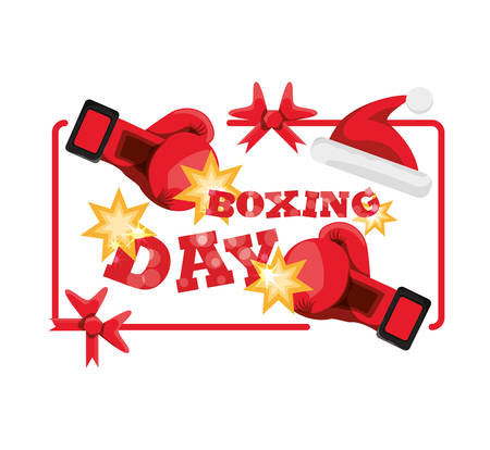 Boxing day with boxing gloves and Christmas hat icon on white background, vector illustration. Illustration