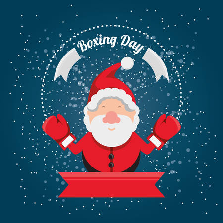 Boxing day design with Santa Claus icon on blue background, vector illustration. Illustration