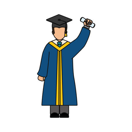 graduated: graduated man icon over white background vector illustration