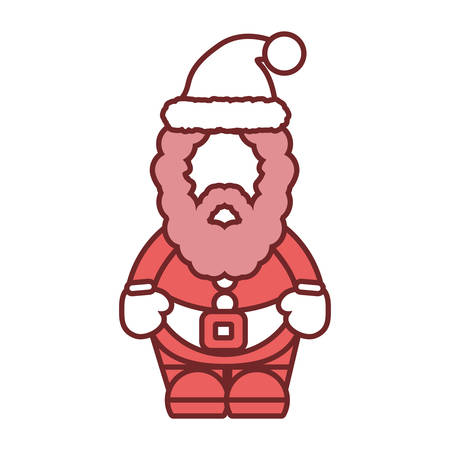 flat line colored  santa claus over white background vector illustration