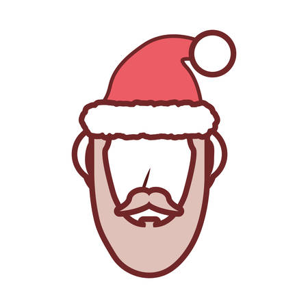 flat line colored  santa claus face over white background vector illustration