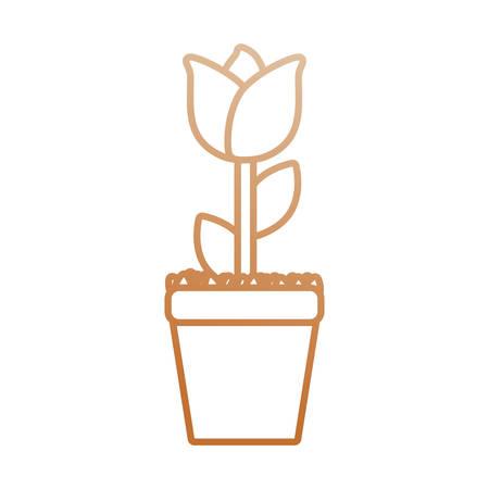 flowerpots: flat  line  colored flowerpot over white background  vector illustration Illustration