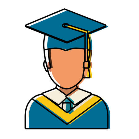 flat line colored   man graduating over white background  vector illustration