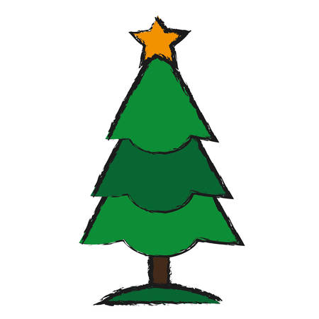 christmas tree icon over white background vector illustration Ilustracja