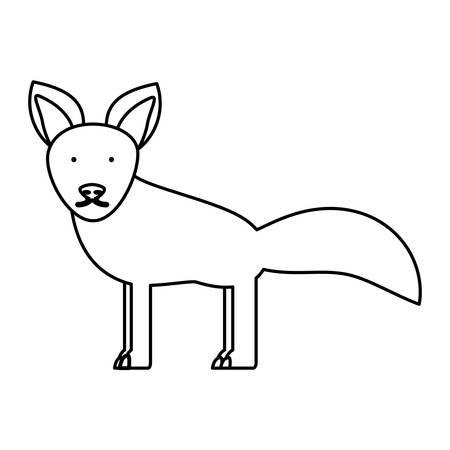 flat line  uncolored  fox over white background  vector illustration