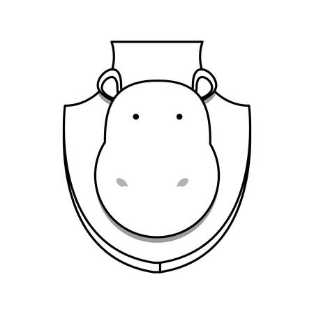 flat line  uncolored animal trophy with hippopotamus  over white background  vector illustration