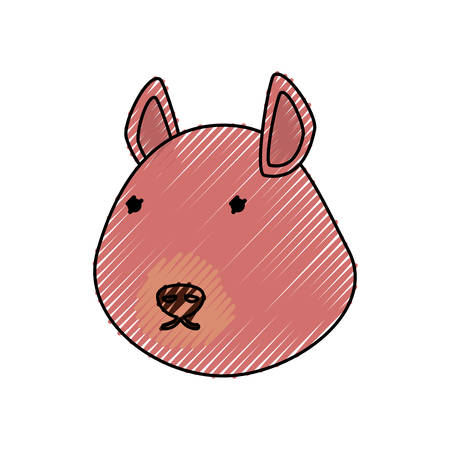 flat line  colored chipmunk face doodle over white background  vector illustration