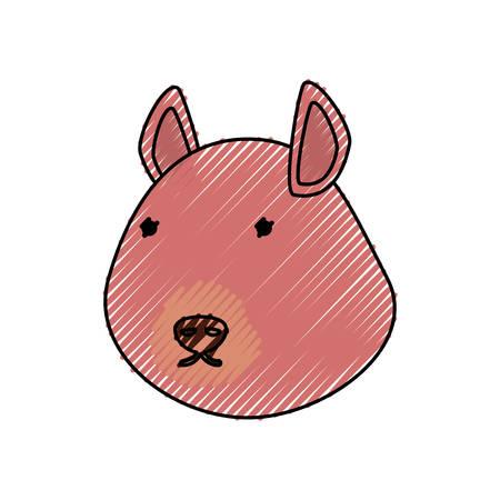 ardilla: línea plana de color chipmunk cara doodle sobre fondo blanco ilustración vectorial