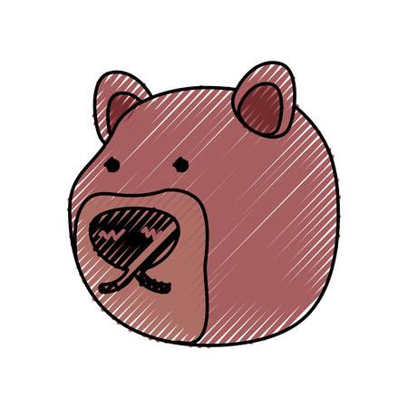 flat line  colored bear face doodle over white background  vector illustration Illustration