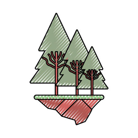 flat line colored trees doodle over white background  vector illustration