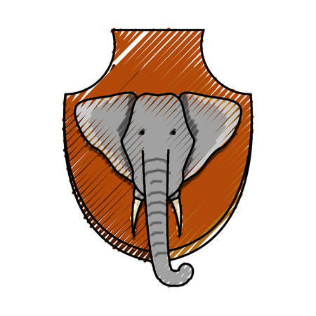 flat line colored  animal trophy  with elephant over white background  vector illustration