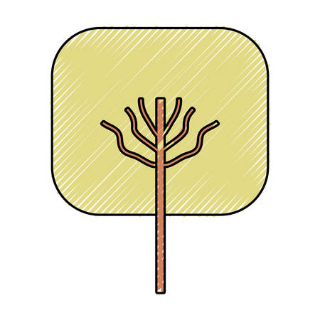 Colored tree flat style design illustration.