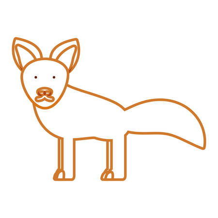 flat line colored  fox over white background  vector illustration