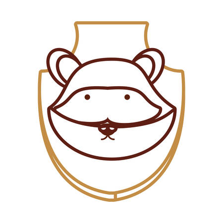 wall socket: Flat line colored animal trophy with raccoon on white background, vector illustration.