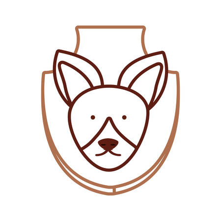 wall socket: flat line colored  animal trophy with fox  over white background  vector illustration