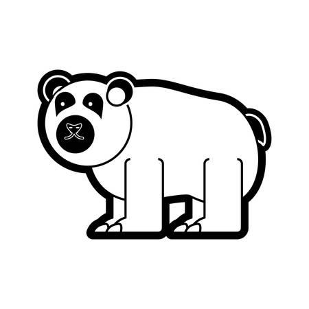 flat line  monochromatic  bear over  white background  vector illustration