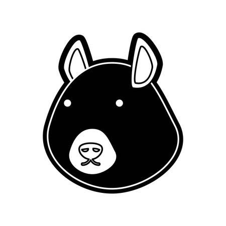 ardilla: flat line  monochromatic chipmunk face    over  white background  vector illustration Vectores