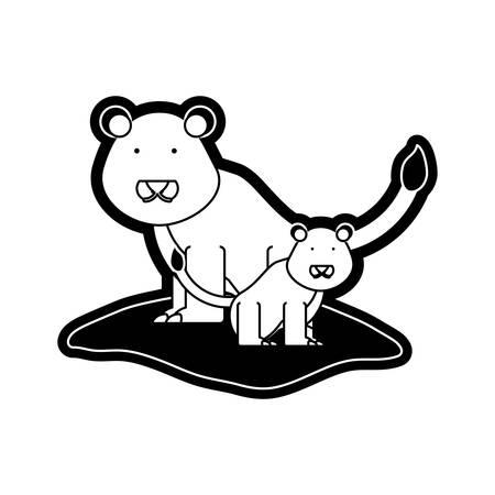 flat line  monchromatic  lion over  white background  vector illustration Illustration