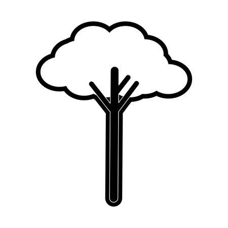 flat line monochromatic  tree over white background  vector illustration