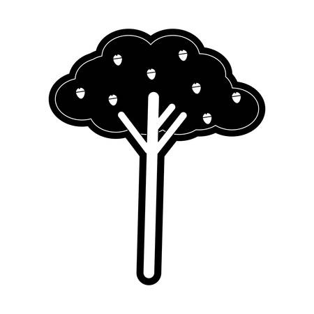 flat line monochromatic  tree over white background  vector illustration