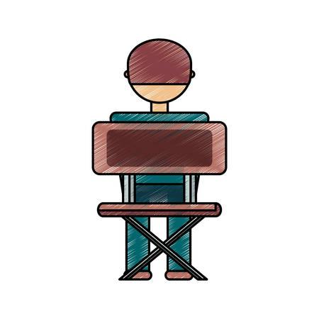 Vlakke lijn gekleurde jongensstudent op witte achtergrond, vectorillustratie.
