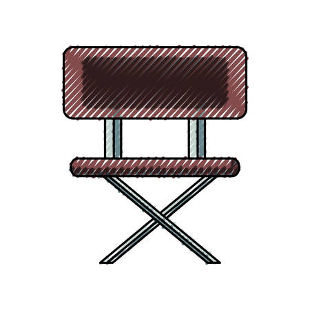 Flat line colored school chair doodle on white background, vector illustration. Illustration