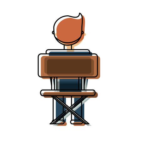 vlakke lijn gekleurde jongensstudent over witte vectorillustratie als achtergrond Stock Illustratie