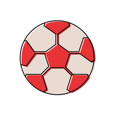 flat line colored soccer ball over white background  vector illustration Illustration