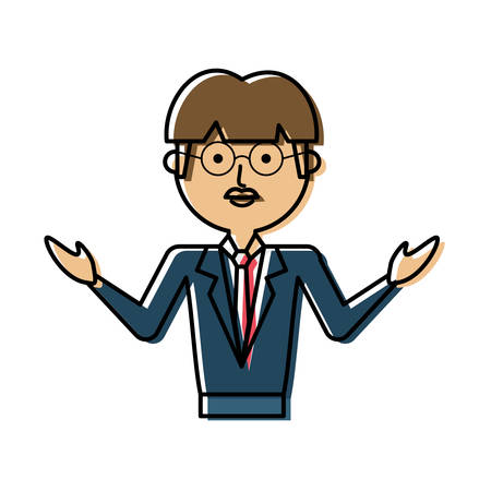 flat line colored teacher man over white background  vector illustration
